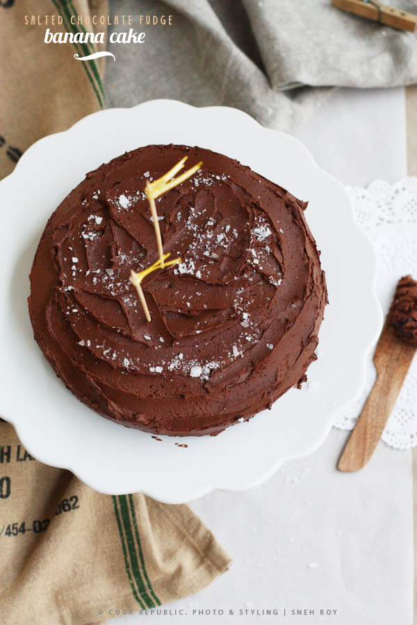 Salted Chocolate Fudge Icing On Banana Caramel Cake | Cook Republic