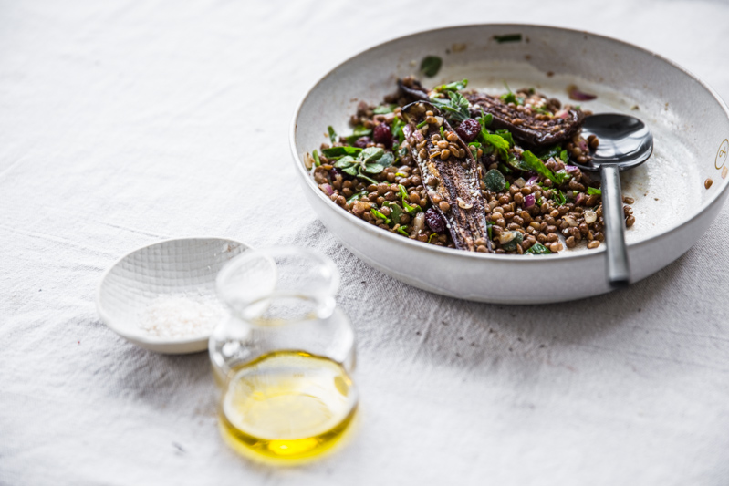 Sumac Roasted Eggplant, Lentil And Cherry Salad - Cook Republic