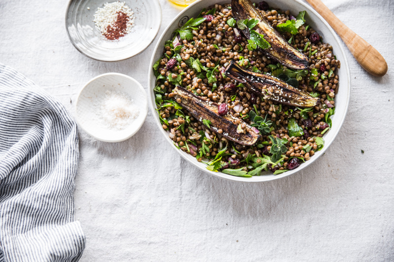 Sumac Roasted Eggplant, Lentil And Cherry Salad (#vegan, #glutenfree) - Cook Republic