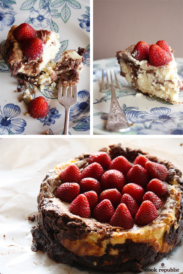 Gorgeous Strawberry topped Valentine's Day Chocolate Brownie Cheesecake