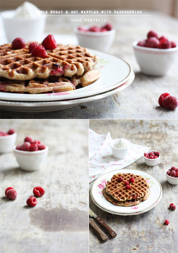 Whole Wheat And Soy Waffles With Raspberries - Cook Republic