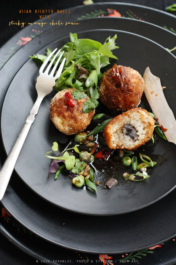 Asian Risotto Balls With Sticky Mango Chili Sauce | Cook Republic