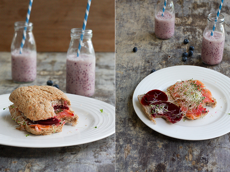Blueberry Coconut Lassi And Salmon Beetroot Sandwich