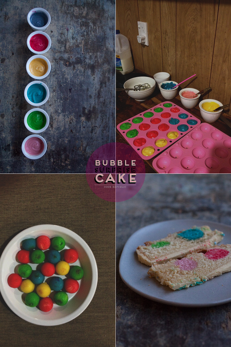 Making coloured cake balls for Bubble Surprise Cake