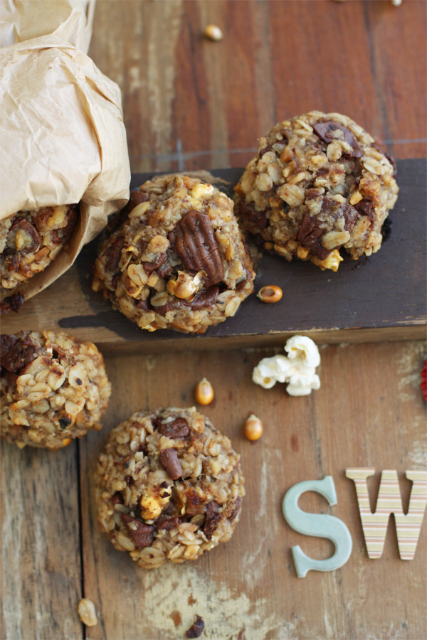 Carnival Cookies - Chocolate, peanuts, oats and popcorn!