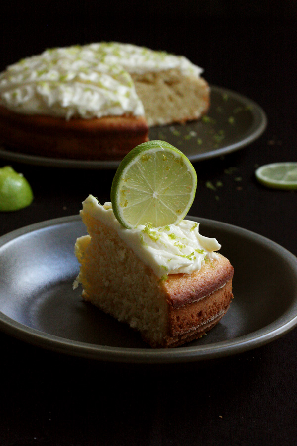 Slice Of Coconut Lime Cake With Rum Frosting