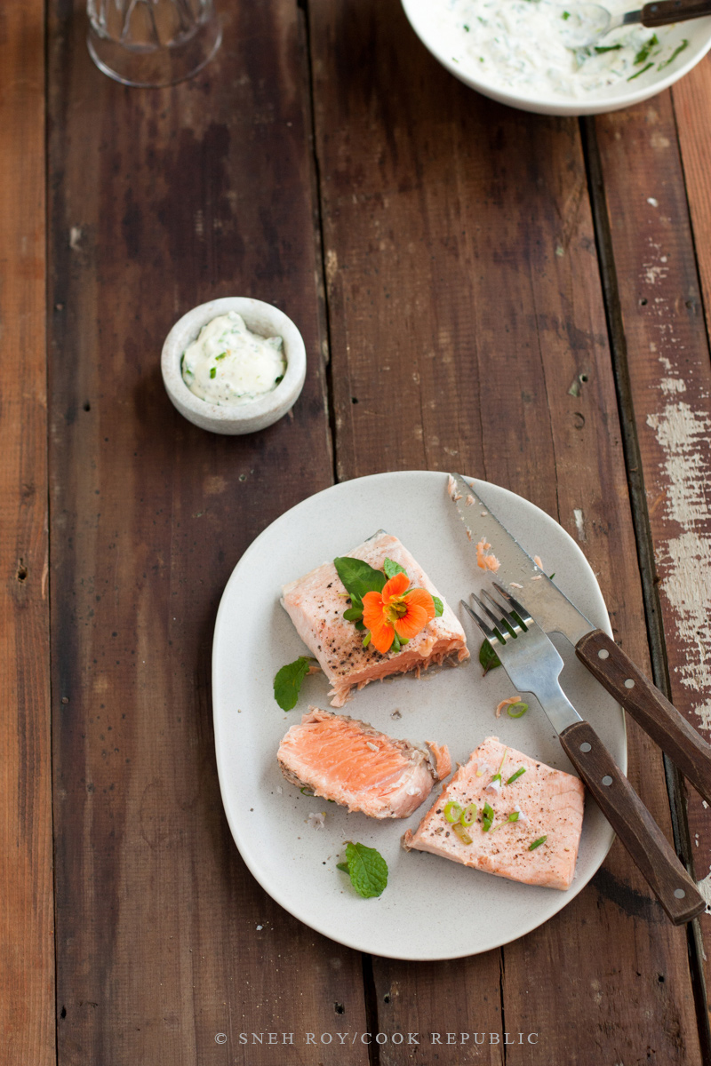 Wine Poached Salmon With Edible Flowers - Cook Republic