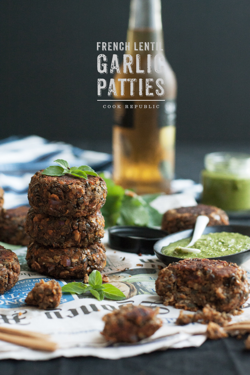 French Lentil Garlic Patties - Cook Republic