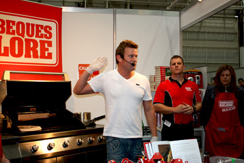 Ben O'Donoghue demonstrates at the Barbeques Galore stall