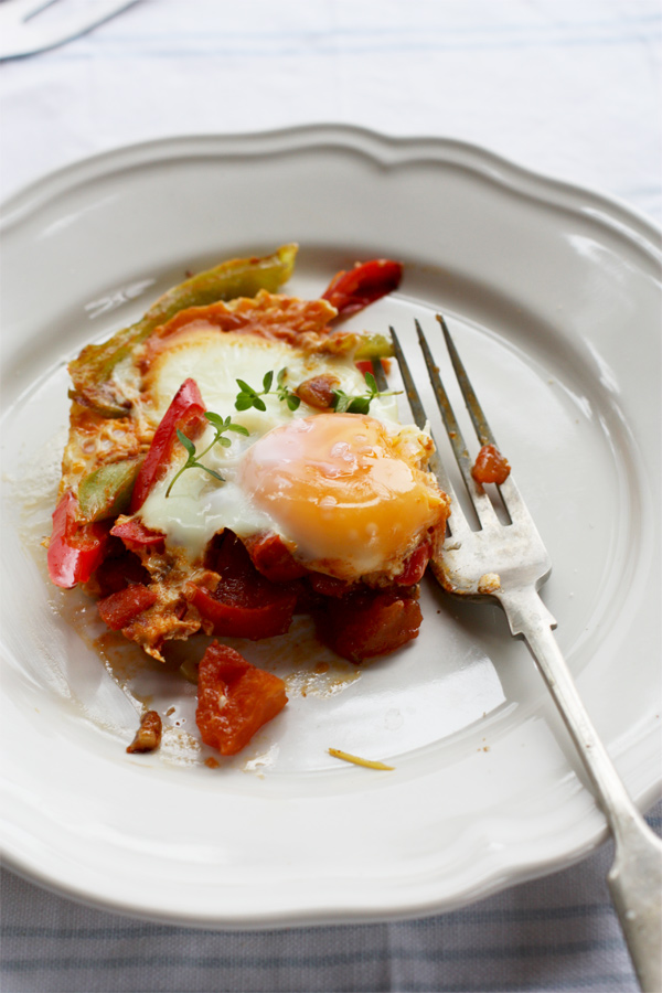 Gorgeous spicy Jewish eggs studded with chili