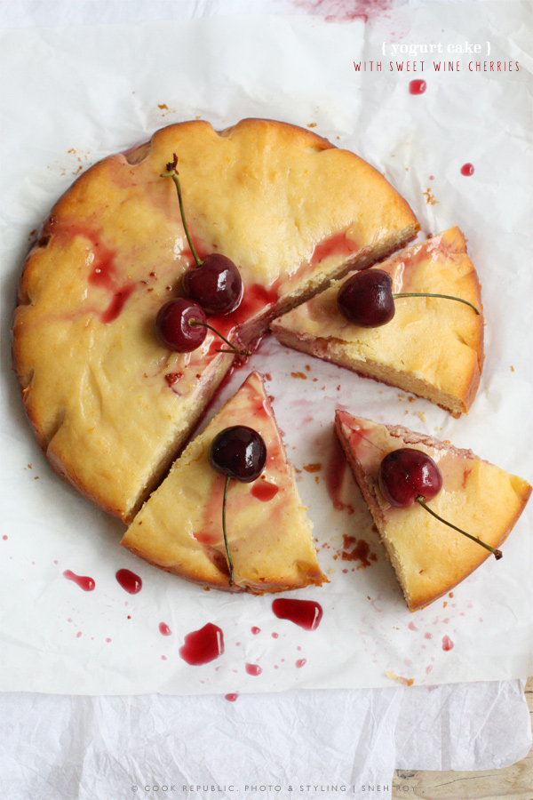 Yogurt Cake With Sweet Wine Cherries