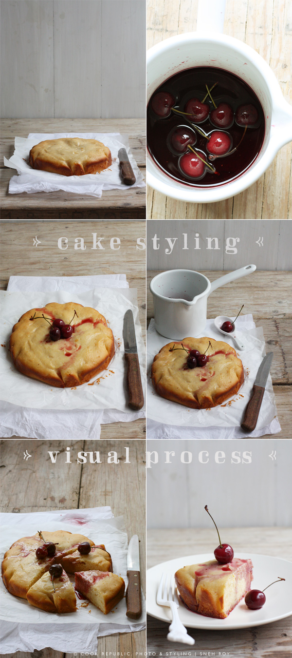 Cake Styling Visual Process - Yogurt Cake With Cherries