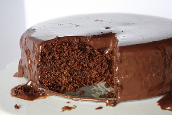 Chocolate cake has a dense fudgy texture.