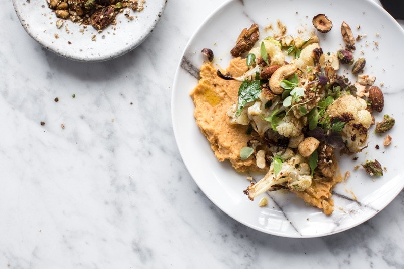 Slow Roasted Cauliflower Salad With Sweet Potato Hummus And Nut Dukkah - Cook Republic