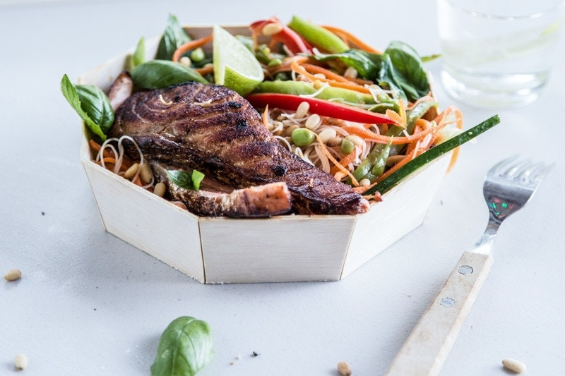Sticky Seared Salmon With Asian Crunch Salad - Cook Republic