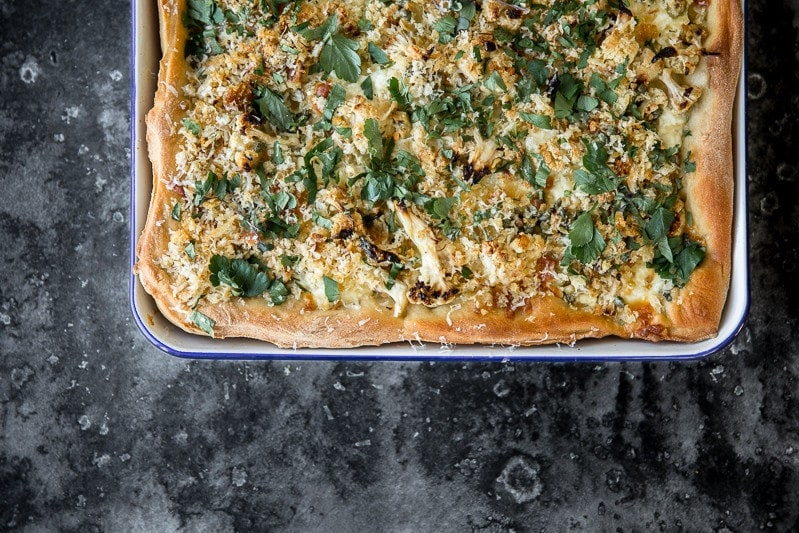 Roasted Cauliflower And Ricotta Grandma Pie - Cook Republic