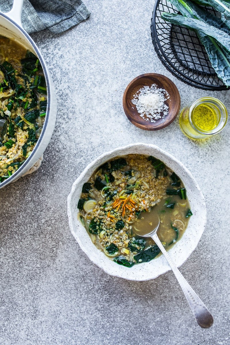 Kale And Freekeh Soup With Fresh Turmeric - Cook Republic #vegan #glutenfree #lowcarb